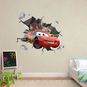 Lightning Mcqueen Explosion 3d Smashed Hole Wall Sticker Decal Disney Cars Wc248