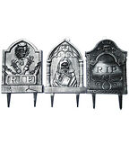 Halloween Prop Decoration Tombstone Gravestone 3-pack Yard Stakes A O4