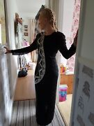 Vintage Black And Silver Beaded Dress 100 Silk Size 10