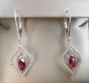 Vintage 10k White Gold Lab Ruby And Diamond Drop Dangle Earrings