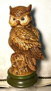 """Vintage Hand Painted Byron Mold B4 Ceramic Great Horned Owl Figurine 12"""" X 6"""""""