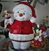 Ceramic Bisque Hand-painted Large Jack The Snowman Santa With A Puppy