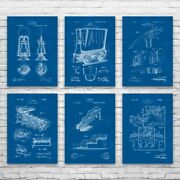 Mining Patent Posters Set Of 6 Miner Gift Lamp Blueprint Homesteading Art