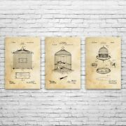 Bird Cage Patent Posters Set Of 3 Pet Store Art Bird Keeper Gift Animal Lover