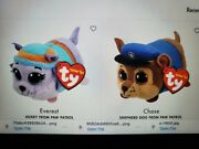 Lot Of 2ty Beanie Teeny Tys 4 Paw Patrol Everest And Chase Stackable Plush Toy