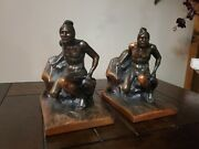 Bronze Native Indian Bookends By Kando Company
