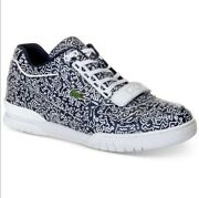 Menand039s Sz 10.5 Keith Haring X Lacoste Missouri White Shoes Sneakers Navy Blue Tee