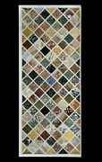 24 X 60 Inch Marble Coffee Table Top Multi Stones Patio Table With Luxurious Art