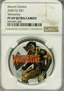 2020 Fiji 1 Marvel Wolverine 1 Oz .999 Silver Proof Coin - Ngc Pf 69 Ucam