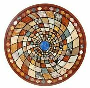 Stone Coffee Table Top Geometrical Design Center Table With Gemstone Inlay Work