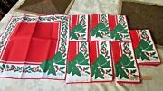 Vintage Vera Christmas Holly And Bow Napkins Lot Of 8 Red Green 16 X 16 Mint