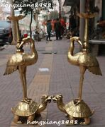 30china Bronze Red-crowned Crane Stand Dragon Tortoise Candle Stick Statue Pair