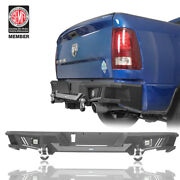 Rear Bumper W/ License Plate Hole And Led Spotlights For Dodge Ram 1500 2009-2018