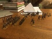 Lot 39 Hand Painted Lead Soldiers Blue Uniform Drummer Horse Flag Charge Andldquobandrdquo