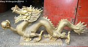 34 Large China Bronze Fengshui Dragon Loong Dragons Beast Ball Animal Statue