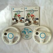 Mario Kart Nintendo Wii Pal Complete With 2 Cleaned Official Wii Wheels White
