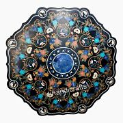 Unique Shape Marble Dining Table Top Pietra Dura Art Lawn Table Intricate Work
