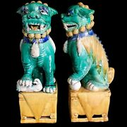 Chinese Foo Dogs 19andrdquo Pair Large Ceramic Statues Majolica Italy Vtg Mid Century