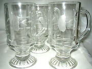 4 Princess House Heritage Irish Coffee Cups Footed Mugs Etched Flower Excellent