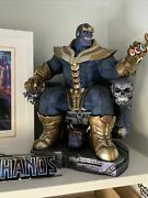 Sideshow Ex Thanos On Throne Premium Format Statue Exclusive With Boxes
