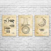 Power Plant Patent Posters Set Of 3 Engineer Gifts Motor Art Print Vintage Motor