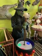 Rare Mechanical Witch With Light Up Pot Halloween Haunted House Life Size Statue