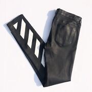 Off-white Virgil Abloh Black Lambskin Leather Diag Pants Size Small