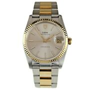 Tudor Two-tone Stainless Steel And Gold-plated Oysterquartz Menand039s Watch 84033