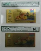 A Pair Pmg 70 And 69 2019 China Portugal 40th Diplomatic Relations 1g Gold Note