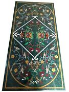 Multi Stones Inlay Work Dinning Table Top Green Marble Lawn Table 30 X 72 Inches