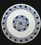 Dining Table Top Lapis Lazuli Stone Inlay Work Marble Lawn Table With Floral Art