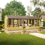 20 X 8 Hobbyist Summerhouse With Long Windows - Tongue And Groove Garden Shed