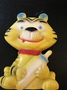 Vintage Alan Jay Clarolyte Squeak Rubber Toy Tiger W/baby Bottle Strong Squeaker