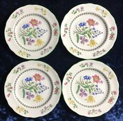 """4 Spode Summer Palace Salad Plates 7 1/2"""" Fine Stone, Floral, Green Trim"""
