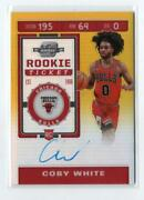 Nba Card 2019-20 Coby White Panini Contenders Optic Chicago Bull 102 Auto Rc /10