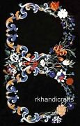 Multi Floral Pattern Inlaid Dinning Table Top Marble Meeting Table 36 X 60 Inch
