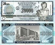 Paraguay 20,000 Guaranies Banknote World Paper Money Unc Currency Pick P225 2005