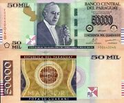 Paraguay 50,000 Guaranies Banknote World Paper Money Unc Currency Pick P232c
