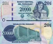 Paraguay 20,000 Guaranies Banknote World Paper Money Unc Currency Pick P235 2013