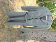 Vintage Womens Mod Belted Trench Coat Grey Leather Size About A 13 Tall