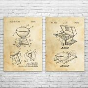 Barbecue Bbq Patent Prints Set Of 2 Bbq Gift Restaurant Art Cooking Wall Art