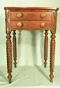 Antique 19th Century Floral Carved And Rope Turned Leg 2 Drawer Work Table