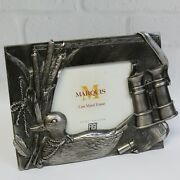 Sculpted 3d Duck Hunting Decoy Wilderness Metal Pewter Tone Picture Frame