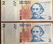 Argentina 2 Pesos Listing Is For 2 Sequential Bank Notes See Photos
