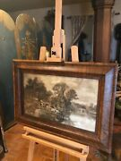 Etching 1905 Artiist F.w Hayes Framed Antique Lithograph Signed Black And White.