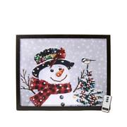 Winter Lane Fiber Optic Lit Canvas Art With Remote Snowman Scene Sold Out New