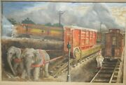 N. Horn Oil Painting, Ringling Brothers Circus At The Train Station