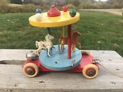 Vintage 1960s Brio Wood Carousel Merry-go-round Pull Toy With Bell Sweden Broke