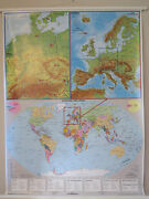 Pull Roll Down School Wall Map Of The World Europe And Germany 3 Maps In 1