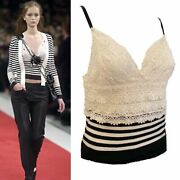 05p, 2005 Spring Lace Camisole Crochet Striped Top Blouse Fr 38
